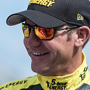 Driver Clint Bowyer is seen in the garage area during the last practice session for the 57th Annual NASCAR Daytona 500 race at Daytona International Speedway on Saturday, February 21, 2015 in Daytona Beach, Florida.  (AP Photo/Alex Menendez)