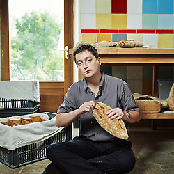 """LABECEDE-LAURAGAIS, (South of) FRANCE. JUNE 7, 2013. Stephane Linou, who was the first """"locavore"""" in France when he spent 1 year in 2009 eating only food that had been grown within 150km around, in a farm's bakery called """"Lait-co-pain"""" (a pun about friends, milk and bread) where it's all about self-feeding and growing things the most natural way. Photo: Antoine Doyen"""