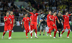 England celebrate after winning the FIFA World Cup 2018, round of 16 match at the Spartak Stadium, Moscow.
