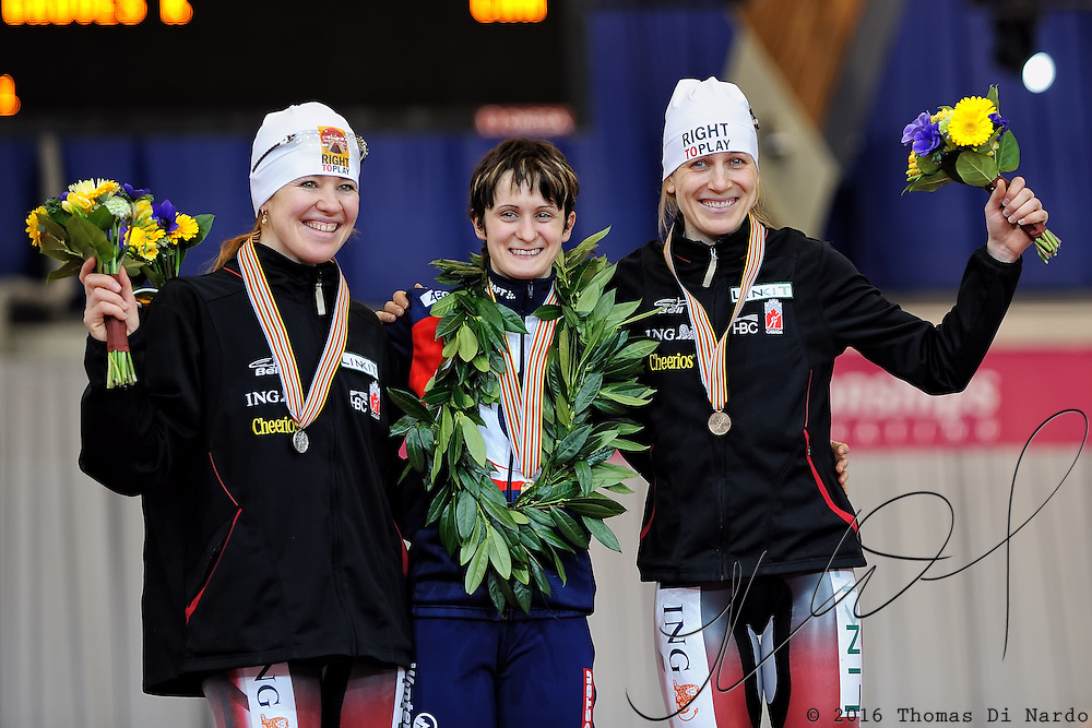 Martina Sablikova (CZE), Clara Hughes (CAN), and Kristina Groves (CAN) celebrate their medal winning performance in the 5000m competition at the 2009 ISU World Single Dinstances Speed Skating Championships at the Vancouver Olympic Oval in Richmond, BC, Canada on March 14, 2009.