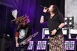 August 26, 2017 - Reading, Berkshire, UK - Reading Festival 2017, Reading, UK. Korn perform on the main stage. Jonathan Davis and James Shaffer pictured  (Credit Image: © Andy Sturmey/London News Pictures via ZUMA Wire)