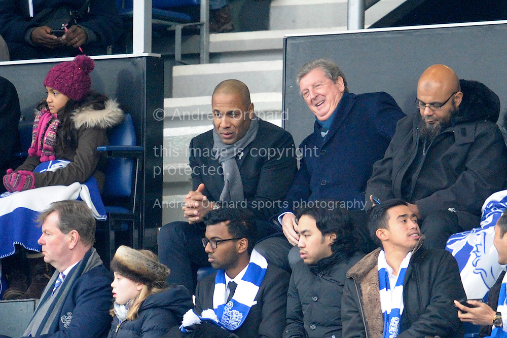 Les Ferdinand , the QPR director of football with England Manager Roy Hodgson watching the match from the directors box. Barclays Premier league match, Queens Park Rangers v Southampton at Loftus Road in London on Saturday 7th Feb 2015. pic by John Patrick Fletcher, Andrew Orchard sports photography.