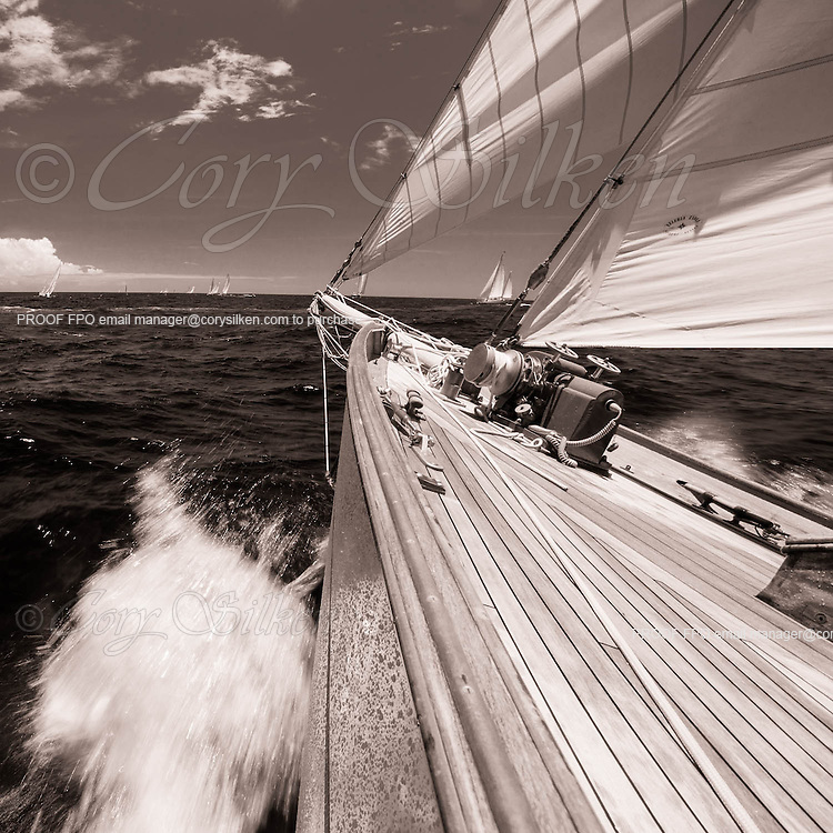 Sailing onboard Eilean during the Antigua Classic Yacht Regatta, Cannon Race.