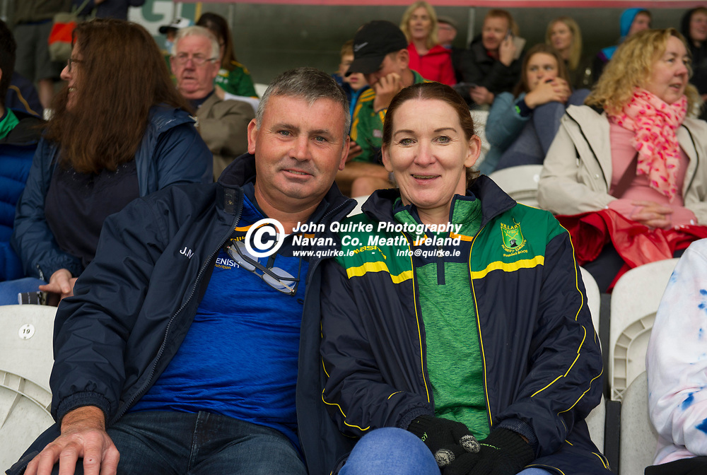 02-08-21. Meath v Dublin - Leinster MFC Final at O'Connor Park, Tullamore.<br /> L to R: David Harford, Jack Donnelly, Cian Harford and Joey and Patricia Matthews from Castletown  were in Tullamore  supporting the Meath Minor Footballers.<br /> Photo: John Quirke / www.quirke.ie<br /> ©John Quirke Photography, 16 Proudstown Road, Navan. Co. Meath. (info@quirke.ie / 046-9028461 / 087-2579454).