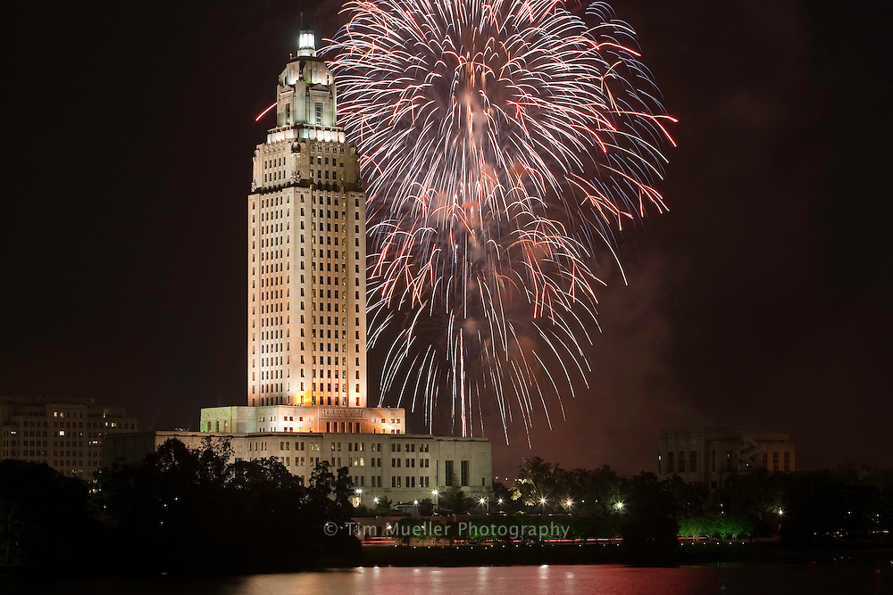 Fireworks on the Mississippi Fourth of July celebration occurs each year along the river levee in the State's Capitol, Baton Rouge.