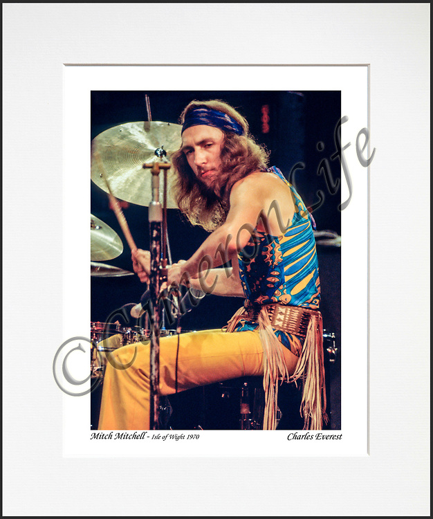 """Mitch Mitchell- An affordable archival quality matted print ready for framing at home.<br />  Ideal as a gift or for collectors to cherish, printed on Fuji Crystal Archive photographic paper set in a neutral mat (all mounting materials are acid free conservation grade). <br />  The image (approx 6""""x8"""") sits within a titled border. The outer dimensions of the mat are approx 10""""x12"""""""