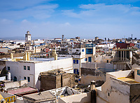 ESSAOUIRA, MOROCCO - CIRCA MAY 2018:  View of rooftops of Essaouira and old town.