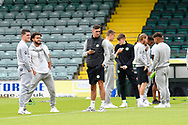 Forest Green Rovers on the pitch on arrival ahead of the Pre-Season Friendly match between Yeovil Town and Forest Green Rovers at Huish Park, Yeovil, England on 31 July 2021.