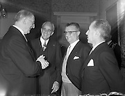 29/09/1960<br /> 09/29/1960<br /> 29 September 1960<br /> New French Ambassador to Ireland. His Excellency, Jacques-Emile Paris presents his credentials to the President at Aras an Uachtarain. Picture shows: President Eamonn de Valera (left) chatting with the Ambassador (centre) and Mr. G. Paul-Boncour, Commercial Counsellor of the French Embassy, who accompanied the Ambassador.
