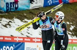 Anna Odine Stroem of Norway helping Ingebjoerg Saglien Braaten of Norway during Team Competition at Day 2 of World Cup Ski Jumping Ladies Ljubno 2019, on February 9, 2019 in Ljubno ob Savinji, Slovenia. Photo by Matic Ritonja / Sportida