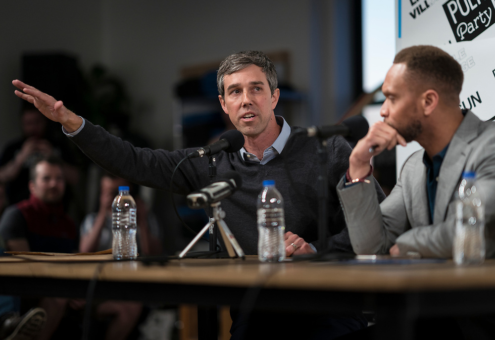 "Democratic 2020 presidential candidate Beto O'Rourke, 46, speaks during the recording of the ""Political Party Live"" podcast during a three day road trip across Iowa, in Cedar Rapids, Iowa, U.S., March 15, 2019.  REUTERS/Ben Brewer"