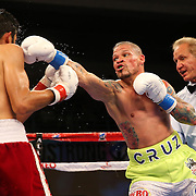 KISSIMMEE, FL - JULY 15: Orlando Cruz (R) punches Alejandro Valdez during a boxing match at the Kissimmee Civic Center on July 15, 2016 in Kissimmee, Florida. Cruz was the first professional boxer to announce himself as gay and recently lost four friends in the Pulse Nightclub shooting in Orlando, he dedicated this match to his lost friends and won the bout by TKO in the 7th round.  (Photo by Alex Menendez/Getty Images) *** Local Caption *** Orlando Cruz; Alejandro Valdez