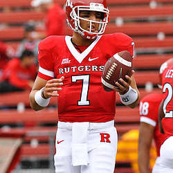 Sep 12, 2009; Piscataway, NJ, USA;  Rutgers quarterback Tom Savage (7) warms up before Rutgers' 45-7 victory over Howard in NCAA College Football at Rutgers Stadium.