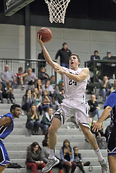 16 November 2013:  Alex Rossi pumps one up to the glass during an NCAA mens division 3 basketball game between the Aurora University Spartans  and the Illinois Wesleyan Titans in Shirk Center, Bloomington IL