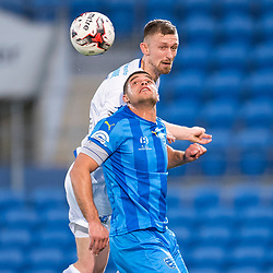 BRISBANE, AUSTRALIA - SEPTEMBER 20: Luke Adams of South Melbourne and Jarrod Kyle of Gold Coast City compete for the ball during the Westfield FFA Cup Quarter Final match between Gold Coast City and South Melbourne on September 20, 2017 in Brisbane, Australia. (Photo by Gold Coast City FC / Patrick Kearney)