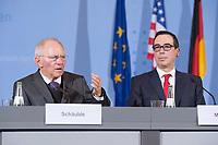 """16 MAR 2017, BERLIN/GERMANY:<br /> Wolfgang Schaeuble (L), CDU, Bundesfinanzminister, und Steven Terner """"Steve"""" Mnuchin (R), Fianzminister der Vereinigten Staaten von Amerika, USA, waehrend einer Pressekonferenz nach einem gemeinsamen Treffen, Bundesministerium der Finanzen<br /> IMAGE: 20170316-03-007<br /> KEYWORDS: Wolfgang Schäuble, Steve Mnuchin, Treasury secretary"""
