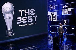 Idris Elba on stage during the Best FIFA Football Awards 2017 at the Palladium Theatre, London.