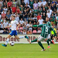 28.08.2019, Stadion Lohmühle, Luebeck, GER,  VFB Lübeck/Luebeck vs VfL Wolfsburg IIi<br /> <br /> DFB REGULATIONS PROHIBIT ANY USE OF PHOTOGRAPHS AS IMAGE SEQUENCES AND/OR QUASI-VIDEO.<br /> <br /> im Bild / picture shows<br /> Tor zum 1:0 . Torschütze/Torschuetze Ahmet Arslan  (VfB Luebeck) trifft zum 1:0 ins Tor von Torwart Phillip Menzel VfL Wolfsburg II nicht im Bild<br /> <br /> Foto © nordphoto / Tauchnitz