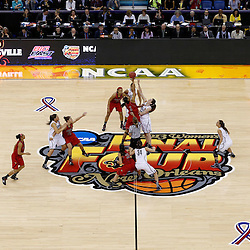 Apr 9, 2013; New Orleans, LA, USA; Louisville Cardinals center Sheronne Vails (3) and Connecticut Huskies forward Breanna Stewart (center, right) jump for the opening tipoff during the first half of the championship game in the 2013 NCAA womens Final Four at the New Orleans Arena. Mandatory Credit: Derick E. Hingle-USA TODAY Sports