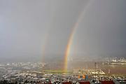Rainbow over Haifa, and Haifa Bay Israel