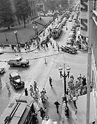 Y-480722-03. Portland SW Morrison & 5th looking west. Trolley 563 Mt Tabor. July 22, 1948