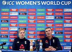 Heather Knight of England Women and England Women head coach Mark Robinson take part in a Press Conference ahead of their side's World Cup Group Match against New Zealand Women - Mandatory by-line: Robbie Stephenson/JMP - 11/07/2017 - CRICKET - Bristol County Ground - Bristol, United Kingdom - England v New Zealand - ICC Women's World Cup