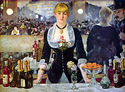 Bar at the Folies Bergere', 1882, the artist's last major work.  Oil on canvas.  Edouard Manet (1832-1883) French artist, transition from Realism to Impressionism.