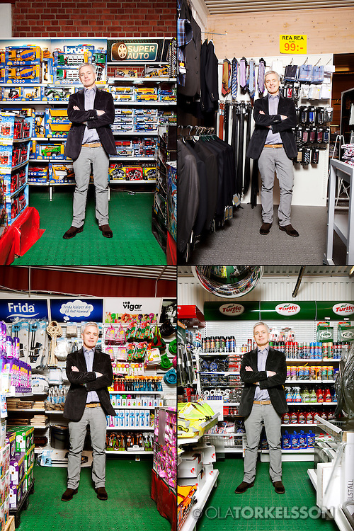 Tomelilla, Sweden.<br /> Swedish entrepreneur Erik Andersson in his store that sells almost everything from dog food to mens wear.<br /> Photo Ola Torkelsson ©