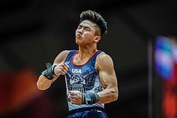 October 29, 2018 - Doha, Qatar - Yul Moldauer of United States   during  Vault, Team final for Men at the Aspire Dome in Doha, Qatar, Artistic FIG Gymnastics World Championships on October 29, 2018. (Credit Image: © Ulrik Pedersen/NurPhoto via ZUMA Press)