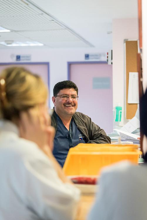 24 February 2020, Jerusalem: Head nurse of the specialized paediatrics care unit Mohammad Kabaja works at the Augusta Victoria Hospital.