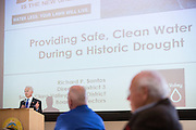 Santa Clara Valley Water District, District 3 Director Richard Santos delivers a Keynote presentation during the Milpitas Chamber of Commerce Business Breakfast at the Milpitas Senior Center in Milpitas, California, on April 14, 2015. (Stan Olszewski/SOSKIphoto)