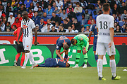 Alphonse Areola (PSG° hurted Thiago Silva (PSG)to catch the ball in the air, Thiago Silva (PSG) is on the floor, Thomas Meunier (PSG), Alphonse Areola (PSG) during the French championship L1 football match between Paris Saint-Germain (PSG) and SCO Angers, on August 25th, 2018 at Parc des Princes Stadium in Paris, France - Photo Stephane Allaman / ProSportsImages / DPPI