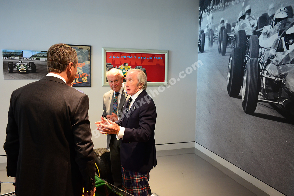 Ben Smith, Doug Niven and Jackie Stewart at the official opening of the Jim Clark Motorsport Museum in Duns, Scotland. Photo: Grand Prix Photo