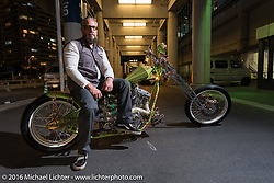 Jole Styles of Australia with his rigid frame Harley-Davidson custom Shovelhead after the Mooneyes Yokohama Hot Rod & Custom Show. Yokohama, Japan. December 4, 2016.  Photography ©2016 Michael Lichter.