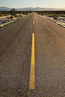 Paved road through desert, Baja California, Mexico