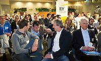 DEN HAAG - Lutger Brenninkmeijer (L)  met Maarten van Heeswijk (r) en Jacques Brinkman. KNHB Technisch Kader Congres ' Coach the game' bij EY in Den Haag. FOTO KOEN SUYK