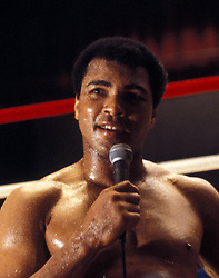 June 3, 2016 - File - Muhammad Ali, the three time heavyweight boxing champion, has died at the age of 74. He had been fighting a respiratory illness. Pictured: Sept. 15, 1978 - New Orleans, LA, U.S. - Heavyweight boxer MUHAMMAD ALI gives one of his famous speeches before the fight to take back his world champion title that he lost in split decision to LEON SPINKS seven months agoin February 1978. During this fight ALI wins the title for a record third time.  (Credit Image: © Keystone Press Agency/Keystone USA via ZUMAPRESS.com)
