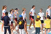 Chungju, South Korea. Women's Eights Medal presentation. Gold medalist USA. W8+. Amanda POLK (b) , Kerry SIMMONDS (2) , Emily REGAN (3) , Lauren SCHMETTERLING (4) , Grace LUCZAK (5) , Meghan MUSNICKI (6) , Victoria OPITZ (7) , Caroline LIND (s) , Katelin SNYDER (c)<br /> <br /> 2013 Rowing Championships, Tangeum Lake, International Regatta Course.  Sunday  01/09/2013 [Mandatory Credit. Peter Spurrier/Intersport Images]