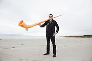 06/09/2016 REPRO FREE:  The alphorn rings out over Galway Bay as Stefan Kaiser heralds Music for Galway's new International Concert Season 'Aimez-vous Brahms?' opening on September 28th and running until May 18th including main concert series, Lunchtime series and Midwinter Festival.  Photo:Andrew Downes, XPOSURE.