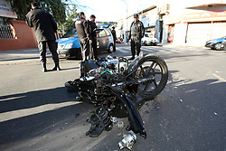 July 4, 2017 - Buenos Aires, Buenos Aires, Argentina - Two criminals aboard a motorcycle escaped from the police and collided in the neighborhood of Villa Crespo. Two criminals were arrested with large amounts of money and weapons. (Credit Image: © Claudio Santisteban via ZUMA Wire)