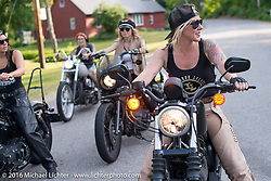 Dana Cooley (rt). Out with the Iron Lilies during Laconia Motorcycle Week 2016. NH, USA. Sunday, June 19, 2016.  Photography ©2016 Michael Lichter.