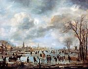 River Scene in Winter' c1660.  Oil on canvas. Aert van der Neer (c1603-1677) Dutch painter. Frozen landscape  with skaters, horse-drawn sledge, men playing ice golf/hockey on river.