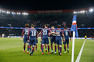 Layvin Kurzawa (psg) scored a goal and received a celebration from, Edinson Roberto Paulo Cavani Gomez (psg) (El Matador) (El Botija) (Florestan), Neymar da Silva Santos Junior - Neymar Jr (PSG), Angel Di Maria (psg), Julian Draxler (PSG), Giovani Lo Celso (PSG), Adrien Rabiot (psg), Marco Verratti (psg) during the UEFA Champions League, Group B, football match between Paris Saint-Germain and RSC Anderlecht on October 31, 2017 at Parc des Princes stadium in Paris, France - Photo Stephane Allaman / ProSportsImages / DPPI