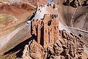 Aerial of Gohargeen fort, Yakawlang province, Bamyan, Afghanistan