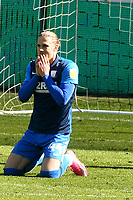 Football - 2020 / 2021 Sky Bet Championship - Swansea City vs Preston North End - Liberty Stadium<br /> <br /> Brad Potts Preston North End on his knees after he shoots wide of goal past  Freddie Woodman Swansea City<br /> <br /> COLORSPORT/WINSTON BYNORTH