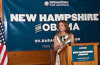 Caroline Kennedy speaks to a large crowd gathered at Hart's Turkey Farm in Meredith Thursday afternoon.  (Karen Bobotas/for the Laconia Daily Sun)