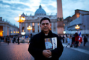 A priest from Peru leaves St. Peter's Square the day after Pope Francis was chosen to be the 266th leader of the Catholic Church in Vatican City, March 14, 2013. Cardinal Jorge Mario Bergoglio from Argentina was chosen by the cardinals during two days of conclave in the Sistine Chapel. Photograph by Todd Korol