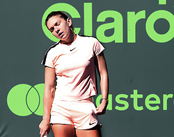 March 22, 2018 - Key Biscayne, FL, USA - Simona Halep of Romania during her 3-6, 6-3, 7-5 victory against Oceane Dodin of France in the first round of the Miami Open in Key Biscayne, Fla., on Thursday, March 22, 2018. (Credit Image: © Pedro Portal/TNS via ZUMA Wire)