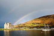 Rainbow over Lochranza Castle on the Island of Arran