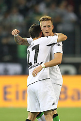 28.08.2014, Borussia Park, Moenchengladbach, GER, UEFA EL, Borussia Moenchengladbach vs FK Sarajevo, Play Off, Rückspiel, im Bild Andre Hahn (Borussia Moenchengladbach #28) beim Torjubel mit Julian Korb (Borussia Moenchengladbach #27) // during the UEFA Europa league 2nd Leg, Play Off Match between Borussia Monchengladbach and FK Sarajevo at the Borussia Park in Moenchengladbach, Germany on 2014/08/28. EXPA Pictures © 2014, PhotoCredit: EXPA/ Eibner-Pressefoto/ Schueler<br /> <br /> *****ATTENTION - OUT of GER*****